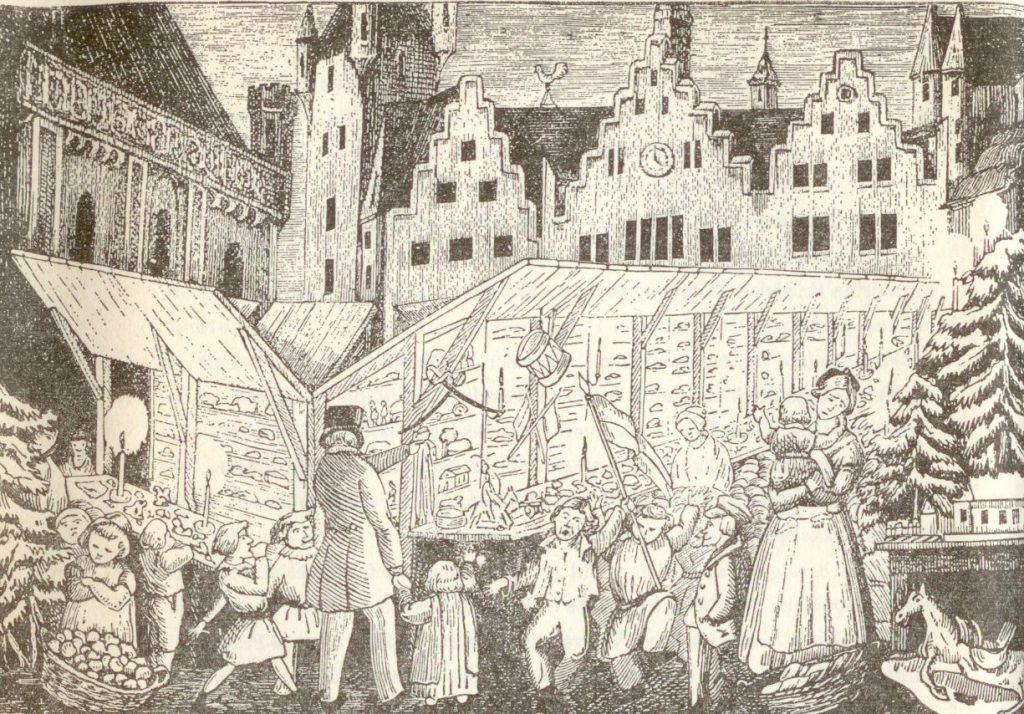 Erste (V)erklärungsansätze: der Weihnachtsmarkt in der Romantik. Heinrich Hoffmann (1809-1894): Christkindchesmarkt um 1850. Aus: König Nußknacker und der arme Reinhold