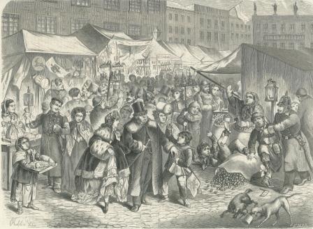 Carl Rechlin (1836-1882), Weihnachtsmarkt in Berlin 1866